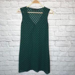 Zara green crochet mini dress